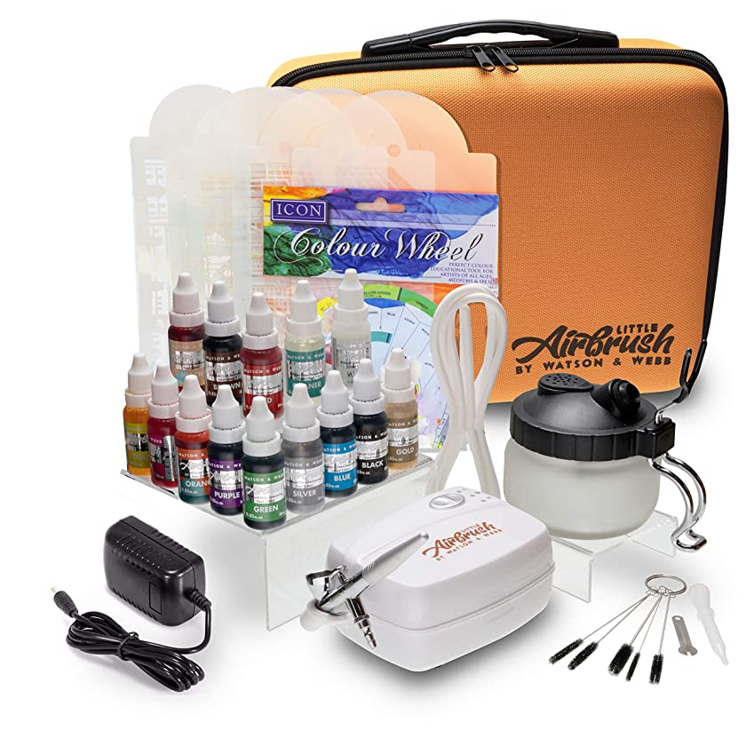 Airbrush Cake Decorating Kit - Watson and Webb Little Airbrush Including 13 Colors, Stencil, 1 x Airbrush Cleaning Solution and Pot, Cleaning Brushes and Case