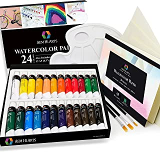 AEM Hi Arts Watercolor Paint Artist Set - 24 Tube Art Kit Includes Colorful Water Color Paints, Brushes, Paper, and Palette - Portable, Small and Washable, Great for Kids and Professional Artists