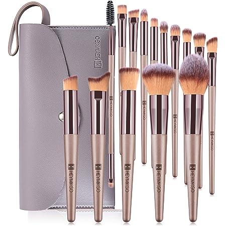 HEYMKGO brochas de maquillaje profesional de color champán, 15 unidades pinceles maquillaje + 1 con bolsa de cosméticos de piel sintética brochas maquillaje
