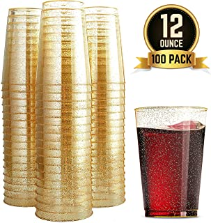 100 Glitter Plastic Cups 12 Oz Clear Plastic Cups Tumblers Gold Glitter Cups Disposable Wedding Cups Elegant Party Cups Recyclable and BPA-Free