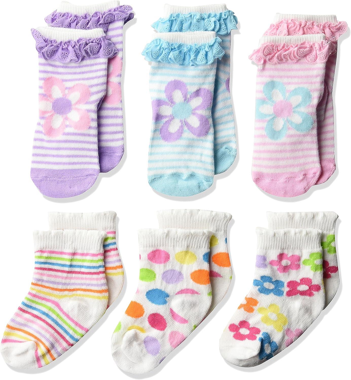 Jefferies Socks Baby Girls' Daisy Eyelet/Stripes/dots Socks 6 Pack