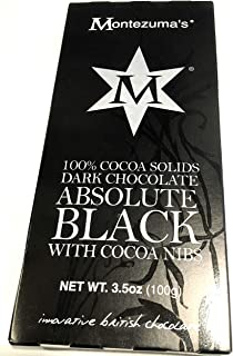 Absolute Black Dark Chocolate 100 Per Cent Cocoa Solids 3.5 ounce bar Vegan Antioxidant rich super food