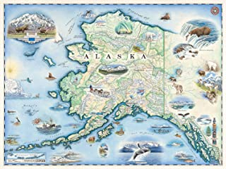 Alaska Map Wall Art Poster - Authentic Hand Drawn Maps in Old World, Antique Style - Art Deco for Home Office Décor - Lithographic Print