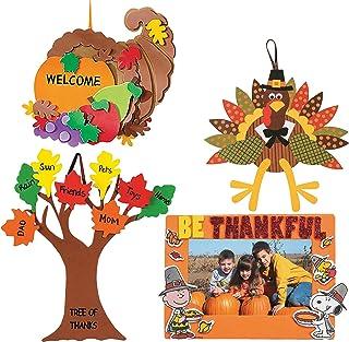 "Craft Kits Thanksgiving & Autumn   Peanuts Be Thankful Picture Frame Magnet Kit, Foam Cornucopia Door Sign Kit, Turkey Making Kit & ""Tree of Thanks"" Kit   Kids Family Holiday Activities Gift Set"