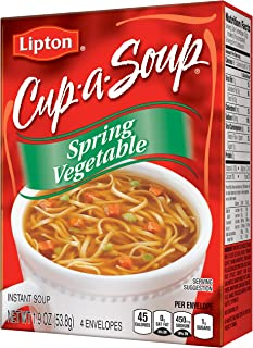 Lipton Cup-A-Soup Instant Soup Mix, Spring Vegetable 1.9 oz (Pack of 12)