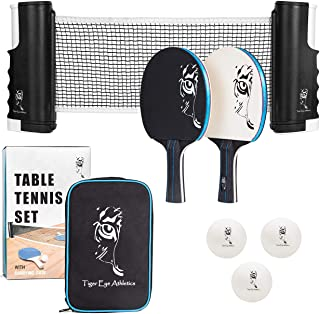 Portable Ping Pong Net and Paddles Set – Table Tennis with Retractable Net and Clamps for Any Table – Professional Kit Rac...