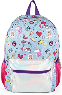 FAB Starpoint 35294 Denim Silver Holographic All Over Print Blue Backpack for Girls, Multicolor