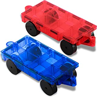 Pythagoras Magnets Car Magnets Magnetic Tile Expansion Set of 2 – Fun and Educational STEM Toys for Girls and Boys – Magnetic Blocks Car Set Compatible with All Kids Magnetic Tiles and Magnet Toys