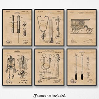 Original Medicine Patent Poster Prints, Set of 6 (8x10) Unframed Photos, Wall Art Decor Gifts Under 20 for Home, Office, Garage, Man Cave, Doctor, College Student, Teacher, Nurse, Technician & ER Fan