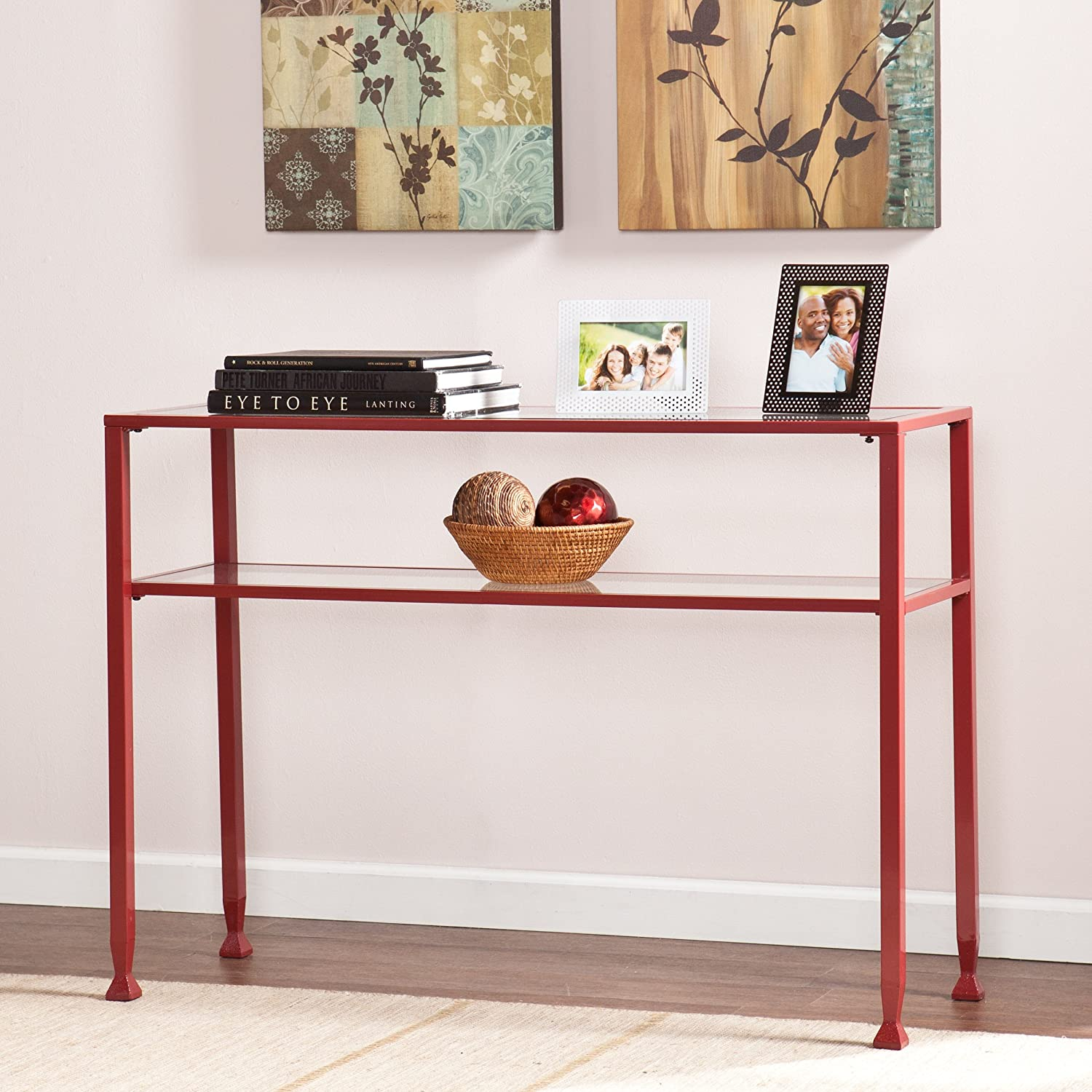 Southern Enterprises Glass Console Table, Red Finish