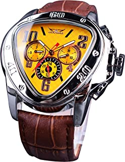 Jaragar Sport Mechanical Watches Triangle Bezel Design Fashion Yellow Dial