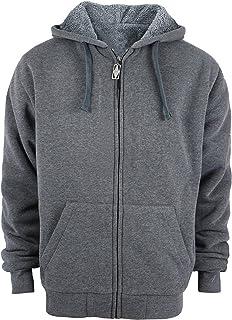 Men's Zip Up Hoodie Heavyweight Winter Sweatshirt Fleece Sherpa Lined Warm Jacket