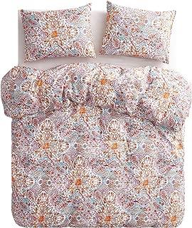 Wake In Cloud - Bohemian Duvet Cover Set, 100% Cotton Bedding, Boho Chic Indian Mandala Printed, with Zipper Closure (3pcs, Queen Size)