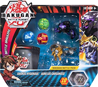Bakugan, Battle Pack 5-Pack, Darkus Hydorous and Aurelus Gargarnoid, Collectible Cards and Figures, for Ages 6 and Up