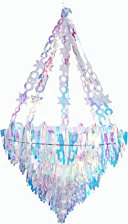 NICROLANDEE Iridescent Party Decorations Hanging Chandelier Shaped Ceiling Ornaments for Magical Unicorn Ice and Fire Bridal Shower Wedding Birthday Frozen Party Supplies