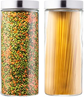 EatNeat Set of 2 Large Glass Food Storage Canisters with Stainless Steel Lids- 72 oz