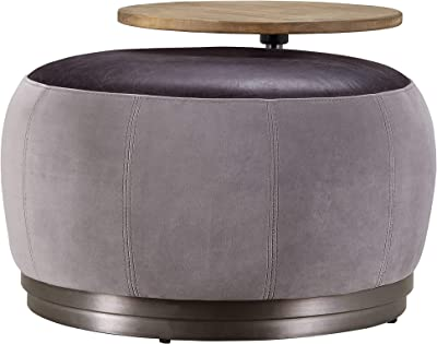 Acme Furniture Decapre Ottoman in Antique Slate Top Grain Leather and Grey Velvet (59271)