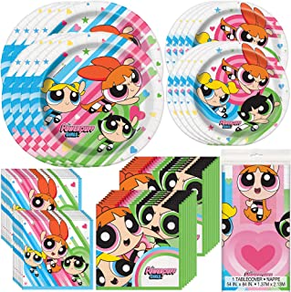 Unique Powerpuff Girls Birthday Party Supplies and Decorations | Dinner and Dessert Paper Plates, Luncheon and Beverage Paper Napkins and Table Cover