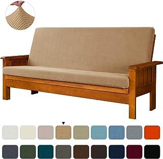 subrtex Stretch Futon Cover Jacquard Futon Slipcover Full Size Futon Mattress Cover Foldable Armless Sofa Bed Cover Furniture Cover (futon, Khaki)
