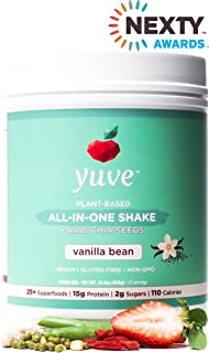 Yuve Vegan Protein Powder with Superfoods - Award Winning Taste - Complete Nutritional Shake - Natural Greens, Plant Based, Non-GMO, Gluten, Dairy, Soy and Lactose Free (Vanilla Tub) 14.8oz/420g