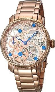 Akribos XXIV Men's Skeleton Mechanical Rose Gold Watch - Exhibition Case - See Thru Dial - Stainless Steel Bracelet Strap - AK525