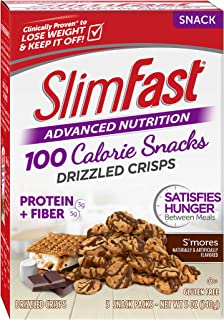 SlimFast Advanced Nutrition 100 Calorie Snacks, Drizzled Crisps, S'mores, 1 oz. Bag, 5 bags per box (Pack of 10)