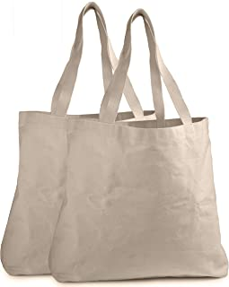 Reusable Grocery Canvas Bag - Durable Stitching with Two Sturdy Shoulder Straps to Handle Heavy Groceries. Canvas Tote Grocery Bags, an Eco-Friendly Solution for Grocery Shopping. (2-PACK | 19