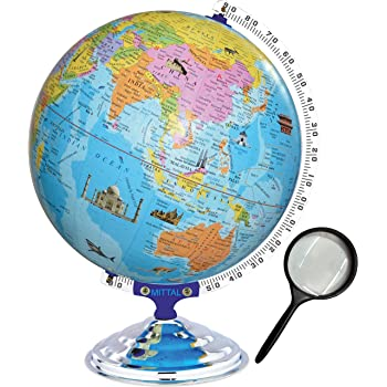 MITTAL Brand (Globe Shoppe) Educational Political Laminated 12 Inches Globe with Monuments with Heavy Metal Arc and Base / World Globe / Large Globe / Big Globe / Home Decor / /