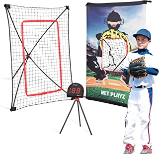 Net Playz Smart Baseball Trainer Combo with 1 set Sport Radar, 3-Feet by 5-Feet Pitchback Rebounder Net and Pitching Target Panel with Carry Bag /1 Pc Baseball and Softball Included