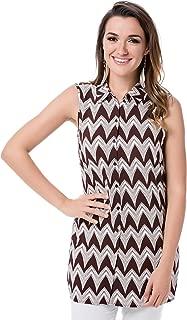 Vero Moda Liv Zigzag Sleeveless Shirt For Women - S, Fudge