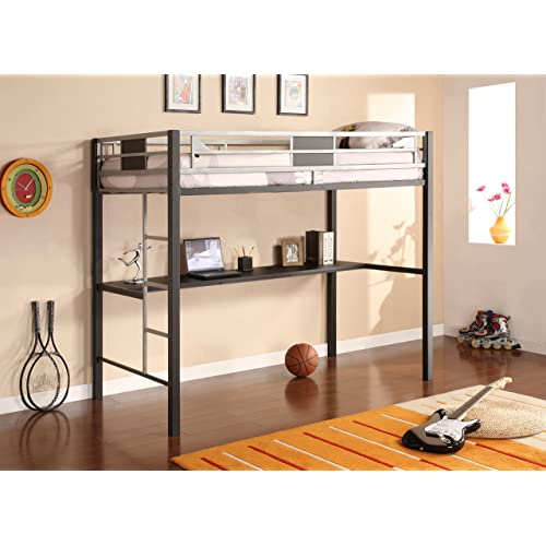 Metal Loft Bed With Desk Leather Topped Desk