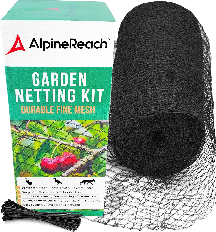 AlpineReach Garden Netting Kit 7.5 x 65 Feet Black - Protect Plants, Fruit Trees - Bird Net & Deer Fencing - Heavy Duty Woven Mesh Extra Strong & Reusable with Zip Ties - Cover Stops Animals : Patio, Lawn & Garden