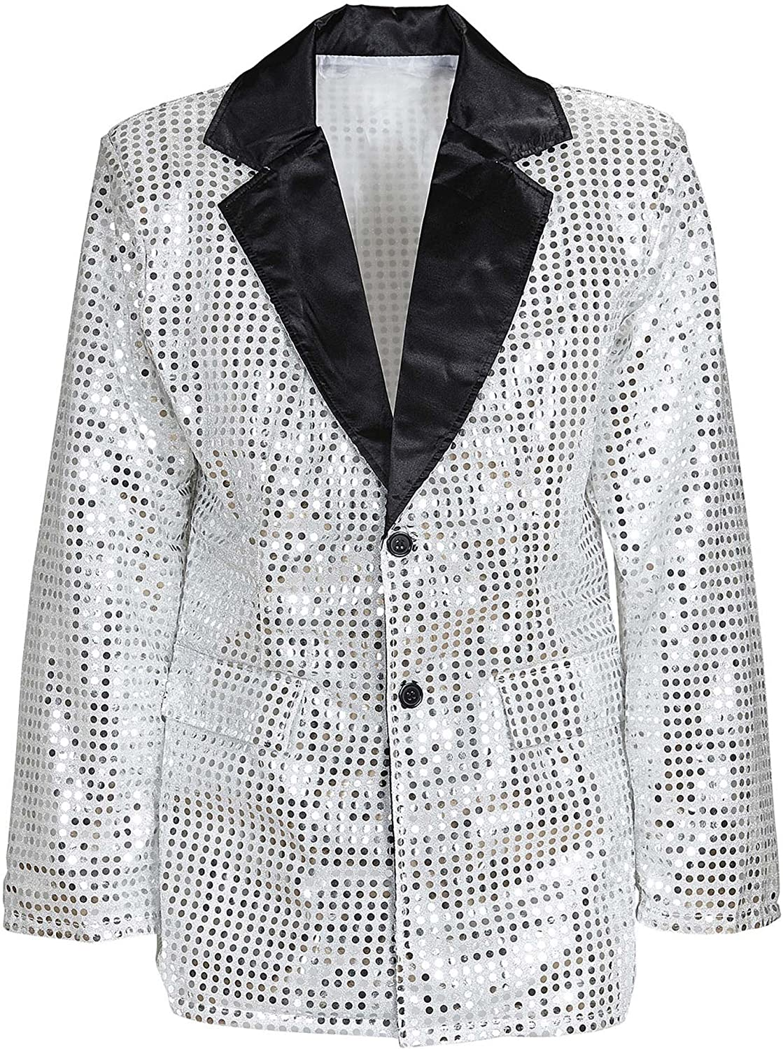 Sequin Jacket withSatin Collar Silver Accessory for Fancy Dress
