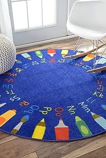 nuLOOM Rainbow Alphabet Kids Round Rug, 8' Round, Blue