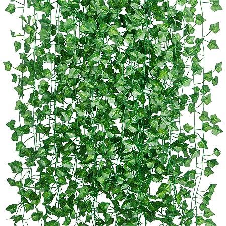 15Pcs * 2m Artificiel Lierre Guirlande Plante Artificielle Exterieur Faux Lierre Feuillage Artificiel Feuille Guirlande Décoration Interieur + 100pcs Attaches Câble