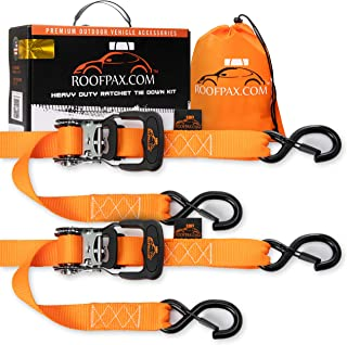 Ratchet Straps by RoofPax (2-Pack) | Heavy Duty Motorcycle Tie downs Kit | 5,208 Break Strength | 1.6