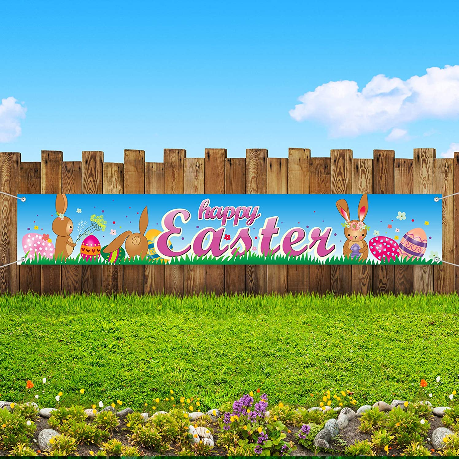 Easter Decorations, Easter Party Suppliers Easter Banner Garland 70.8 x 11.8 inch Fabric Indoor and Outdoor Easter Decor Bunny and Egg Banner