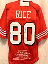 Jerry Rice San Fransico 49ers Signed Autograph Custom Shadow Jersey With Embroidered Stats Tristar Authentic Certified