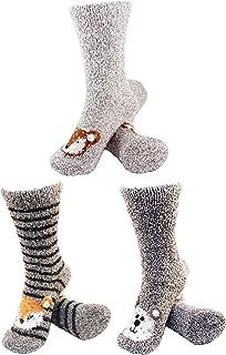 Super Soft Warm Cute Animal Face Non-Slip Fuzzy Crew Winter Home Socks, Value Pack