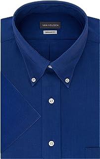 Men's Short Sleeve Dress Shirt Regular Fit Oxford Solid