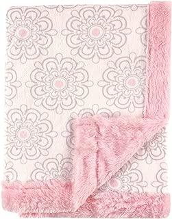 Hudson Baby Plush Blanket with Furry Binding & Back, Modern Floral