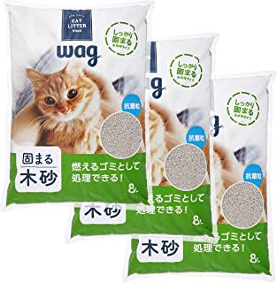 [Amazonブランド] Wag 木製の消臭猫砂 8L×3袋 24L (ケース販売)