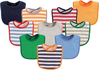 Luvable Friends 10-Piece Baby Bibs, Stripe and Solid (Colors May Vary)