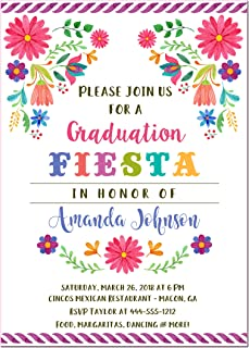 Fiesta Floral Graduation Invitations, High School or College Graduation, Set of 10 printed invitations