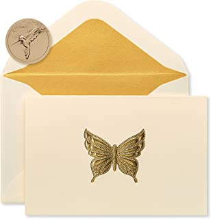 Papyrus Blank Cards with Envelopes, Gold Butterfly (16-Count) - 5228233