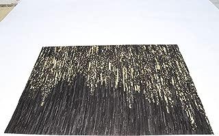 Raw Fashion Rug Leather Animal Skin Patchwork Area Carpet- (6 x 10 Feet,Black-Black Gold)