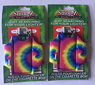 2 Smoo-Z Smoker's Coozie Cigarette Case & Lighter Holder(TIE DYE)