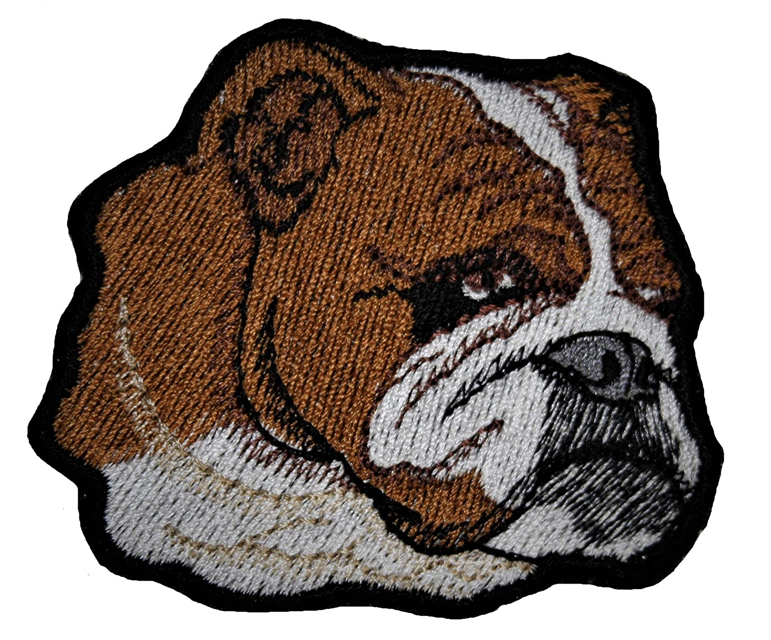 A-9, Bulldog Dog Animals Embroidered Iron on Pieces Applique Patch Dog 3.0 x 2.75 inches (7.7 x 7 cm)