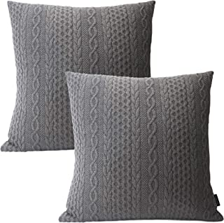 Booque Valley Decorative Pillow Covers, Pack of 2 Super Soft Elegant Modern Embossed Patterned Gray Cushion Covers Throw P...
