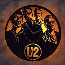U2 Band Led Light Vinyl Record Wall Clock - Get Unique Bedroom or livingroom Wall Decor - Gift Ideas for Boys and Girls Perfect Element of The Interior Unique Modern Art